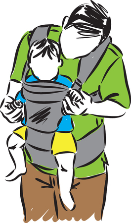 father with son in a baby carrier vector illustration