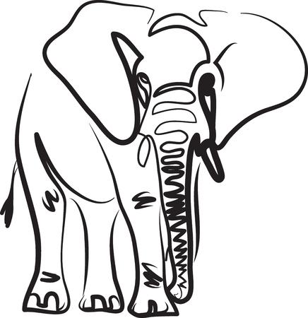 elefante, arte lineal, vector, ilustración, tatuaje