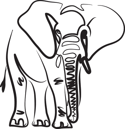 elephant line art vector illustration tattoo