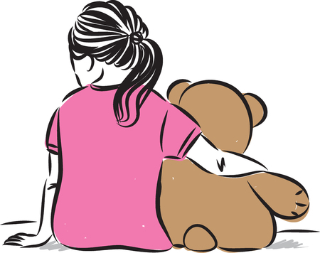 little girl with teddy bear vector illustration