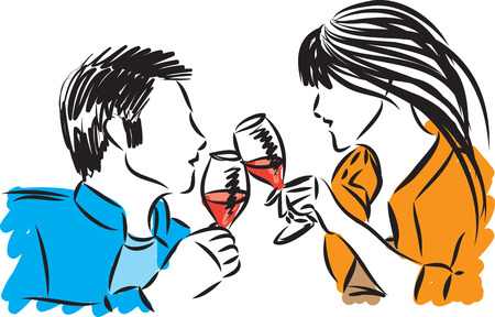 couple man and woman with glasses of wine vector illustration