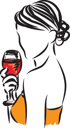 woman illustration with glass of wine vector