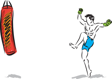 KICK BOXING JUMP MAN VECTOR ILLUSTRATION SEQUENCE 3