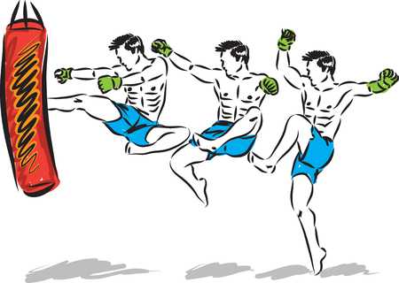 KICK BOXING JUMP MAN VECTOR ILLUSTRATION SEQUENCE