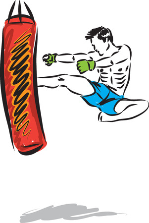 KICK BOXING JUMP MAN VECTOR ILLUSTRATION SEQUENCE 1