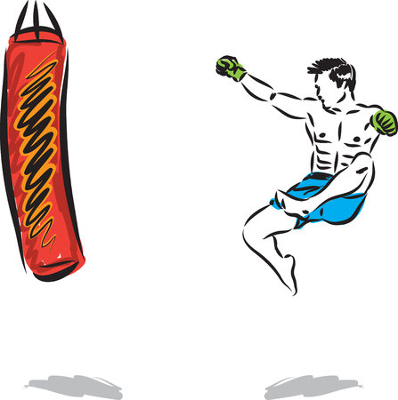 KICK BOXING JUMP MAN VECTOR ILLUSTRATION SEQUENCE 2 向量圖像