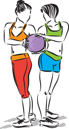 fitness women with ball vector illustration