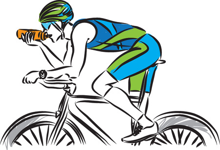 biker with bottle of water vector illustration