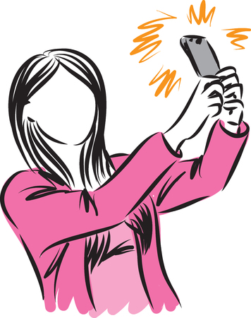 woman taking picture herself vector illustration