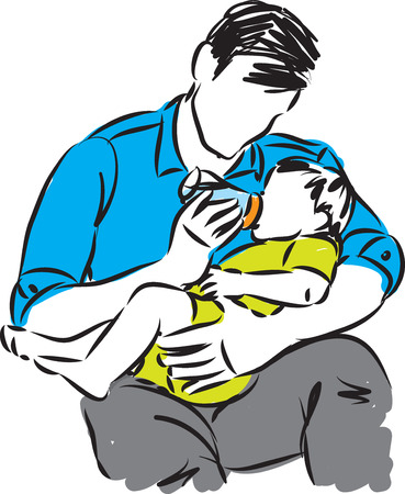 FATHER WITH BABY AND MILK BOTTLE vector illustration