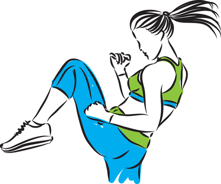 fitness woman kickboxing vector illustration