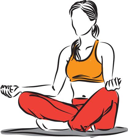 woman meditation exercises illustration