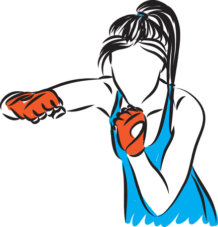 woman kick boxing trainning illustration