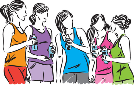 fitness women runners bottle of water  illustration