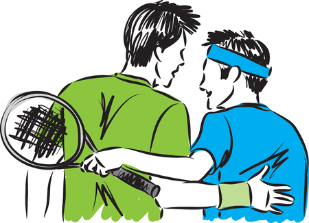 tennis player friends vector illustration