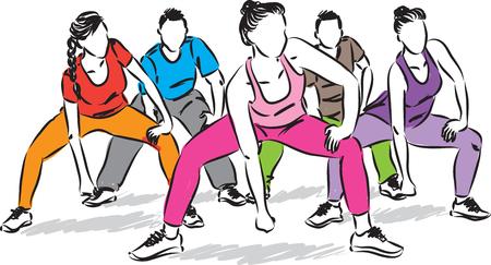 fitness people group vector illustration 向量圖像