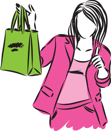pretty girl with shopping bag vector illustration 向量圖像