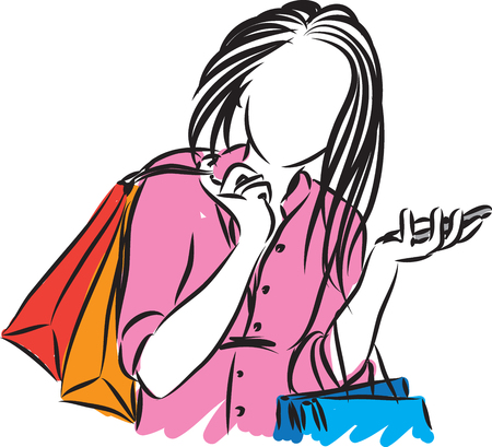 pretty girl with cellphone and shopping bags vector illustration 向量圖像