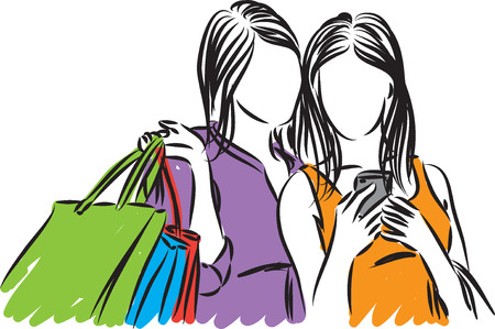 friends taking picture cellphone vector illustration