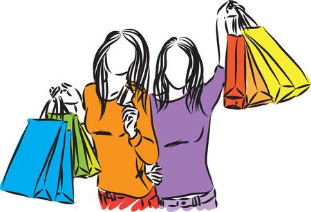 SHOPPING GIRLS TOGETHER CREDIT CARD VECTOR ILLUSTRATION