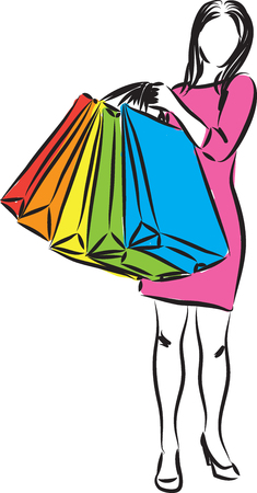 shopping woman illustration isolated on white Archivio Fotografico - 107974900