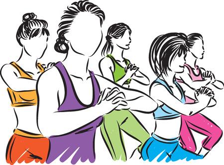 fitness group illustration isolated on white 向量圖像