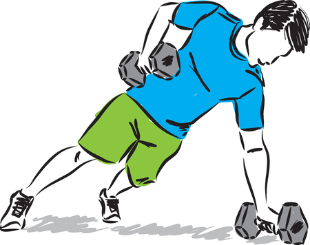 fitness man illustration isolated on white Illustration