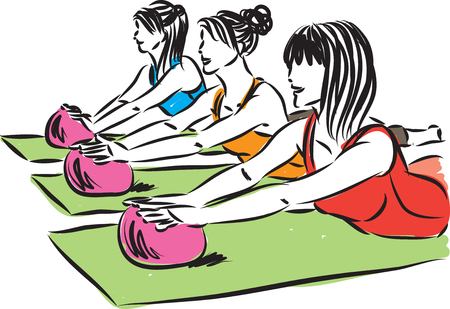 illustration women fitness yoga with ball