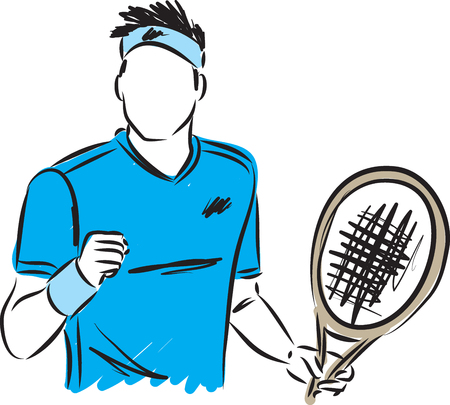 man tennis player winner illustration Stock Illustratie