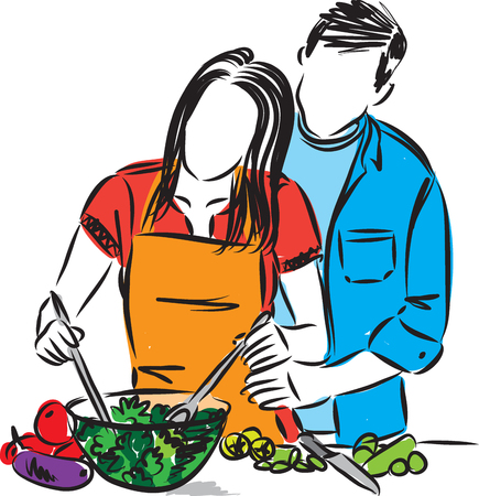 happy couple man and woman cooking together  illustration 일러스트