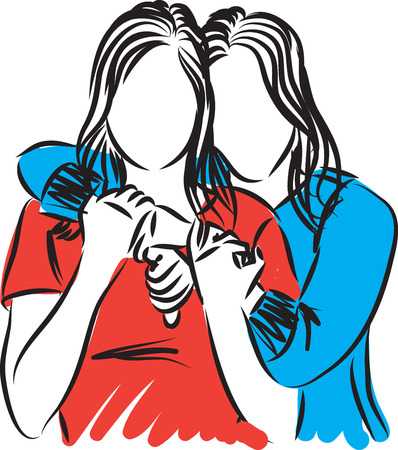 two women friends hugging illustration