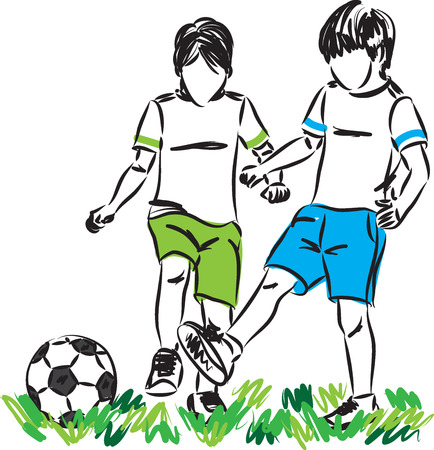 children playing soccer illustration