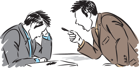 boss arguing with employee concept  illustration
