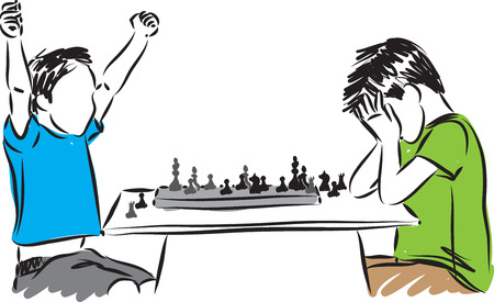 kids playing chess game concept illustration Ilustração