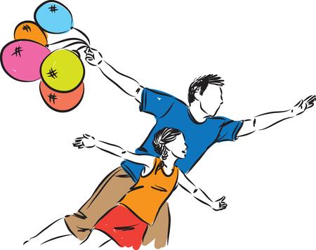 MAN AND GIRL LIBERTY CONCEPT ILLUSTRATION Illustration