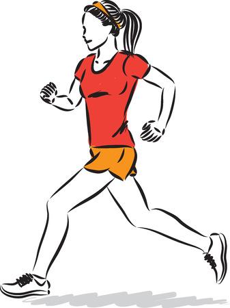 Fitness-Frau, die Vektorillustration joggt