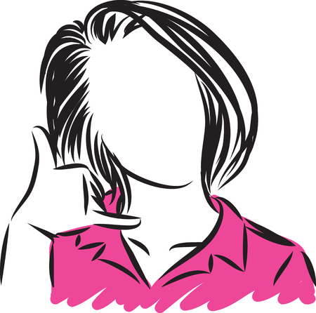 woman phone call gesture vector illustration 일러스트