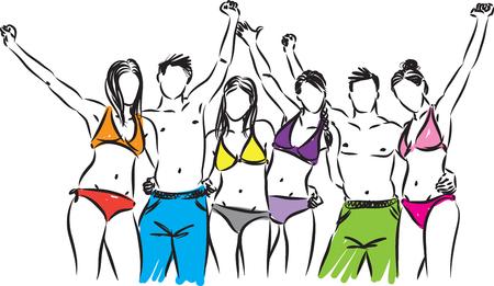 group of people en swimming suit vector illustration 向量圖像