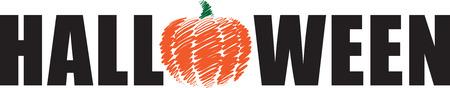 halloween pumking 2 LETTERING vector illustration