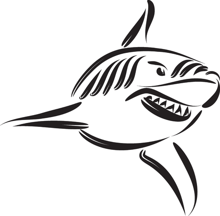 SHARK VECTOR LINE ART TATTOO ILLUSTRATION 向量圖像