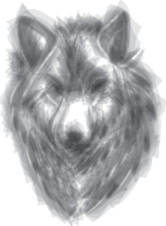 Ilustración de estilo de pincel de vector de lobo