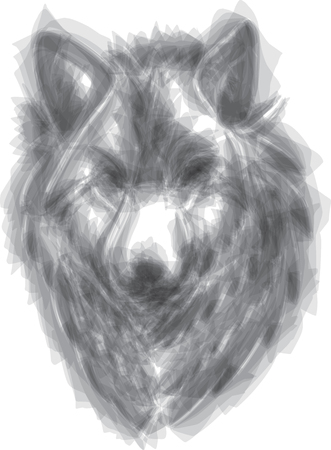 wolf vector brush style illustration