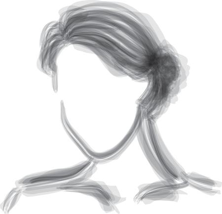 Ilustración de vector de estilo de pincel de silueta de mujer