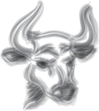 bull brush style head vector illustration