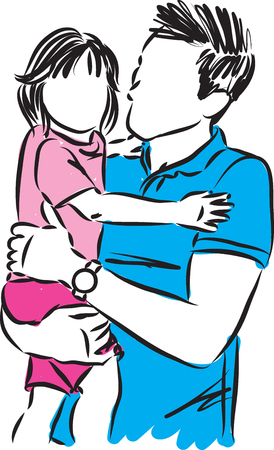 father and little girl daughter vector illustration