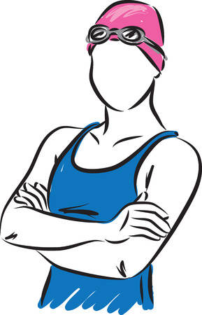 SWIMMER WOMAN VECTOR ILLUSTRATION 向量圖像