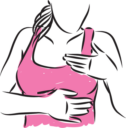 WOMAN BREAST EXAMEN vector illusration