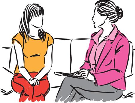 illustrazione vettoriale di conversazione di due donne Vettoriali