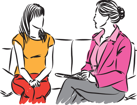 two women conversation vector illustration Stockfoto - 113055918