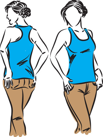woman modeling clothes front and back vector illustration 向量圖像